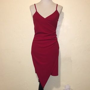 NWOT. Red asymmetrical dress.